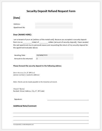 Card Refunded Template Email Sle by Security Deposit Refund Request Form Microsoft Word