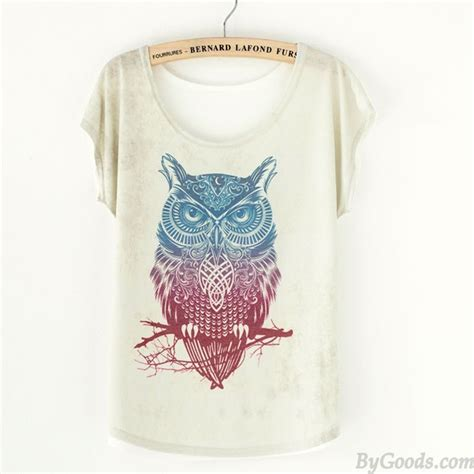 Owl Printed T Shirt owl animal printed t shirt s tops clothing
