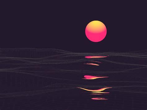 abstract vaporwave retrowave sun reflaction full hd wallpaper