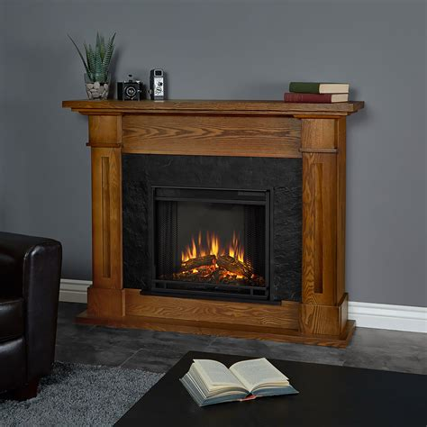 kipling electric fireplace mantel package in burnished oak