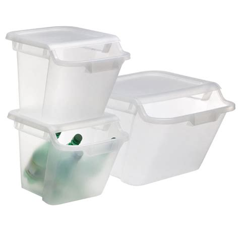 Clear Plastic Kitchen Canisters stacking recycling amp storage bins the container store