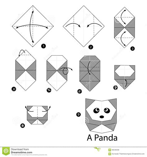 Origami Panda Easy - step by step how to make origami panda stock