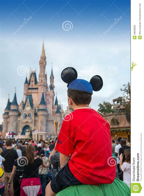magical travel boy magic kingdom castle tourists travel editorial photography