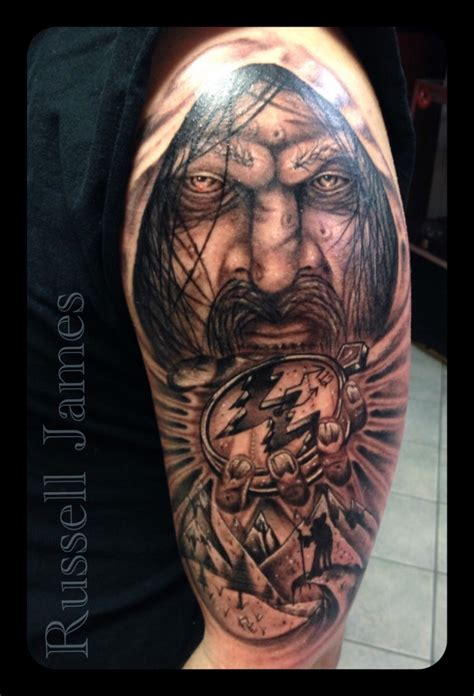 father time tattoo illustrative style colored shoulder of mystical
