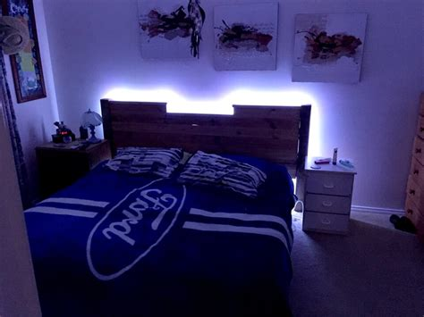 Bed With Lights In Headboard by Upcycled Pallet Headboard With Lights