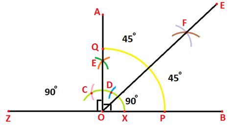 Drawing 90 Degree Angle by Construction Of 135 Degree Angle With The Help Of Compass
