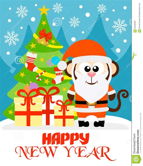 happy new year monkey monkey happy new year card stock vector image 62432361