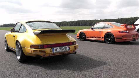 porsche ruf ctr ruf ctr yellowbird vs porsche 997 gt3 rs with akrapovic