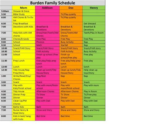 How To Create A Family Schedule Free Template Homespun Sprout Home Organize Pinterest Free Summer C Schedule Template