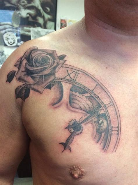 black and grey chest tattoos chest black and grey shade clockwork