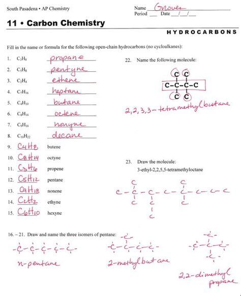 Chemical Nomenclature Worksheet Answer Key