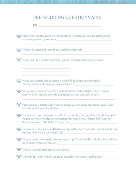 wedding questionnaire template eo