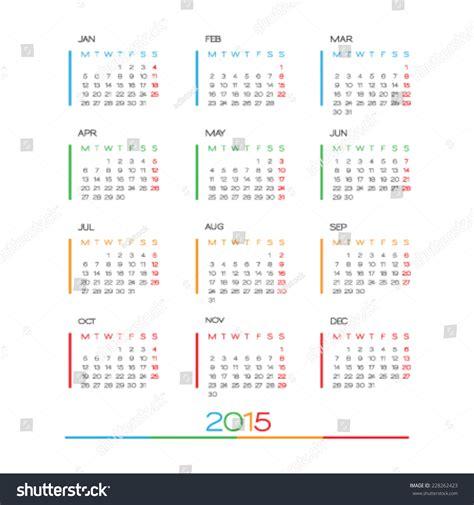 blank calendar template vector calendar 2015 vector design template simple stock vector