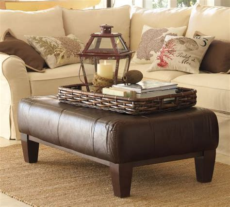 sullivan leather square ottoman pottery barn sullivan leather rectangular ottoman ross
