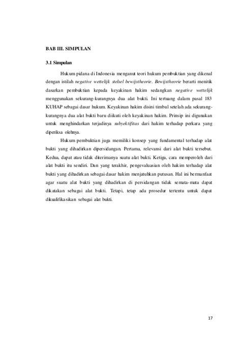 Penjatuhan Pidana Dan Dua Prinsip Dasar Hukum Pidana paper hukum pembuktian hansel