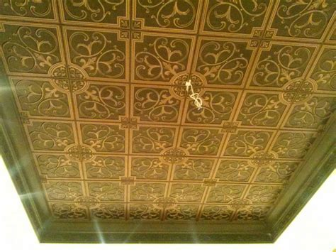 tin ceiling install faux tin ceiling using wallpaper how