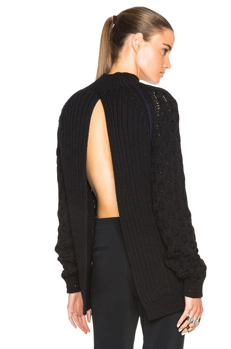 Sweater Cantik Trendy 1 mugler cable knit open back sweater in black lyst