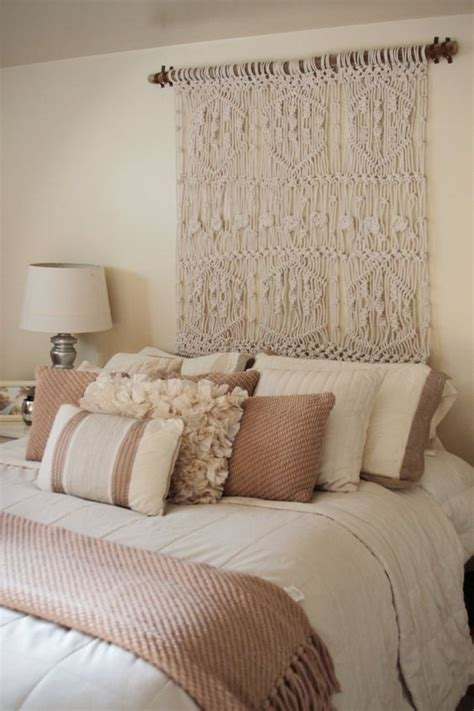 how to hang a headboard to a wall use a macrame wall hanging as headboard so creative and