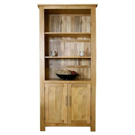 50 Off Solid Oak Bookcase With Cupboard Doors Delamere Oak Bookcase With Doors