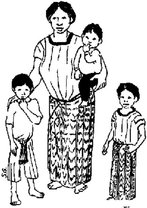 dibujos para colorear de palabras indigenas madre guatemalteca dibujo de una mama indigena con sus