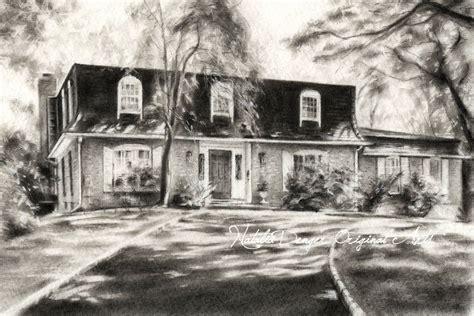 charcoal house custom house drawing charcoal landscape housewarming gift