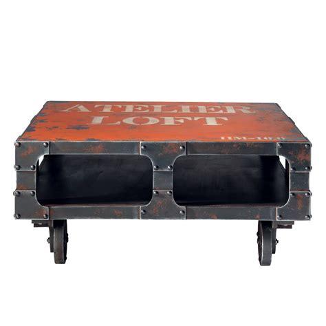 table industrielle maison du monde table basse 224 roulettes l 90 cm terminus maisons