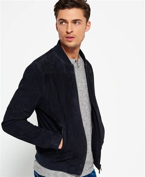 Superdry Suede Bomber Jacket superdry slim suede bomber jacket in blue for lyst