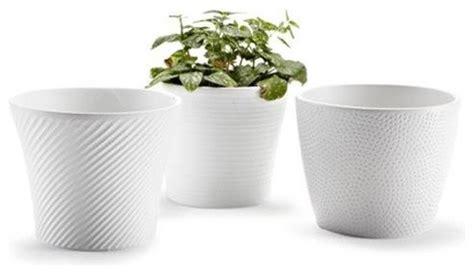 White Garden Pots Ceramic Embossed Small White Flower Pots Set Of 3