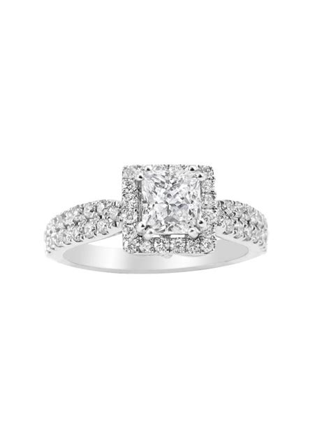 square halo with princess cut engagement ring