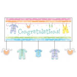 baby clothes baby shower congratulations banner bubbles and rainbows supplies and