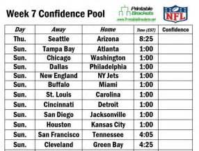 printable nfl confidence football pool sheet template week