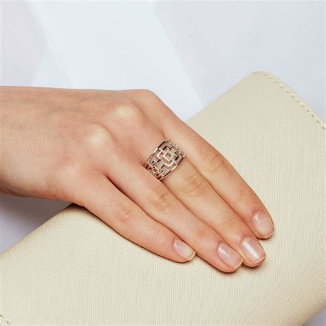 geometric pattern ring geometric ring with diamonds in sterling silver