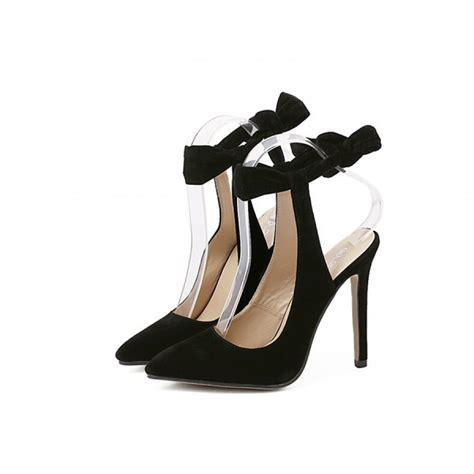 Bow Pointed Pumps black suede pointed toe slingback bow high heel pumps