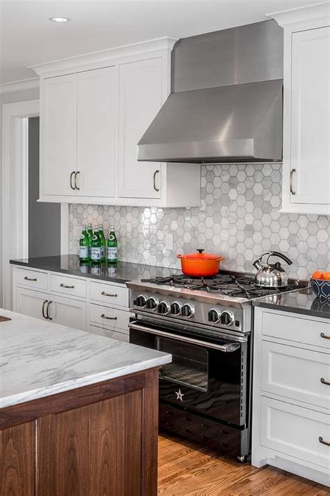 Hexagon Tile Kitchen Backsplash Marble Hexagon Tiles With Black Bluestar Range Transitional Kitchen