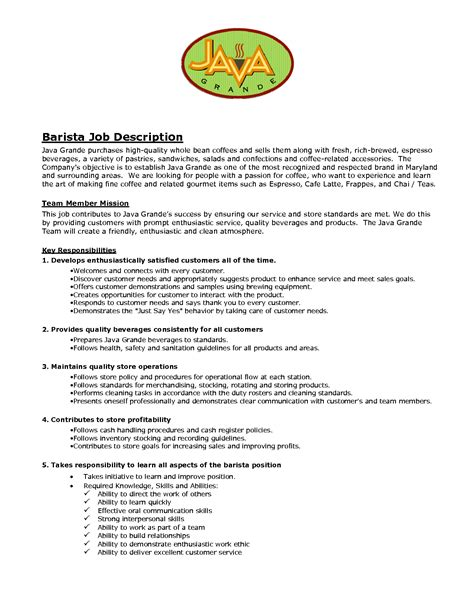 Resume Exles For Descriptions Sle Barista Resume Barista Objective Description Resume Barista Description Skills