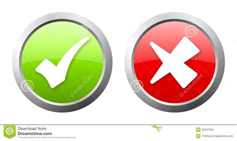 red and green light green and red check mark button stock images image 35247904