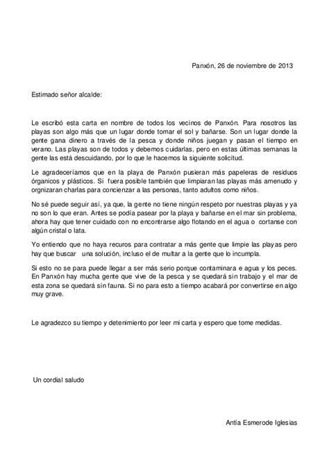 carta formal sobre la contaminacion hugo