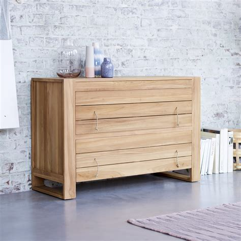 Solid Teak Bedroom Furniture by Solid Teak Chest Of 2 Large Drawers Simple Design