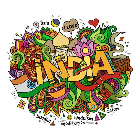 doodle 2 in india india lettering and doodles elements stock vector