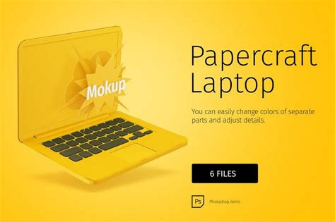 Laptop Papercraft - 100 macbook psd vector mockups design shack