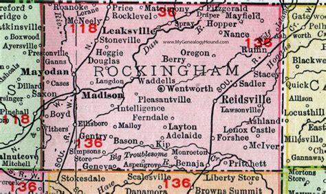Rockingham County Nc Records Rockingham County Carolina 1911 Map Rand Mcnally Reidsville
