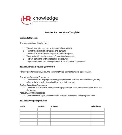 52 effective disaster recovery plan templates drp