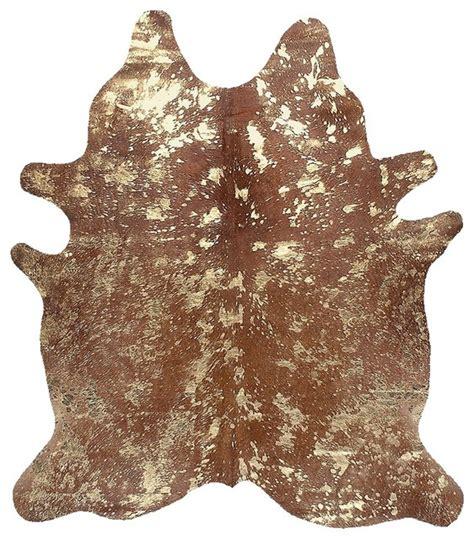 Acid Wash Cowhide brown cowhide metallic silver acid wash rug rugs leather carpet speckles modern rugs other