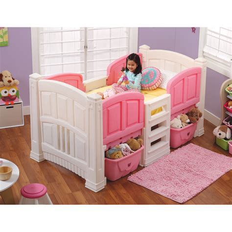 toddler girl bed step2 girls loft storage twin bed walmart com