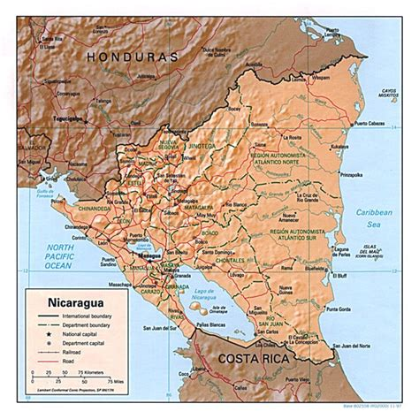 political map of nicaragua detailed relief and political map of nicaragua nicaragua