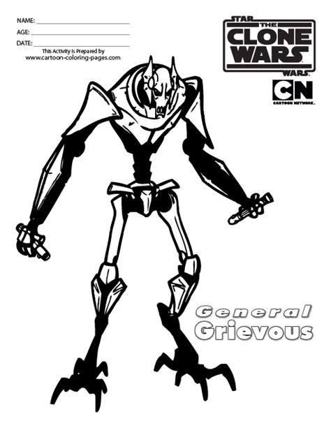 star wars general grievous coloring pages black white