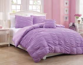 4 piece full mandy ruffle comforter set purple