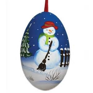 christmas snowman hand painted signed turkey egg