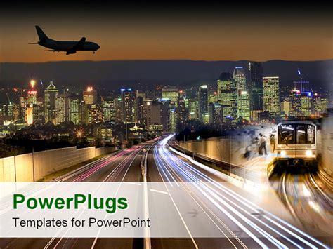 Powerpoint Template Transportation Flying In Airplane Public Transport Train Subway City Lights Transportation Powerpoint Templates