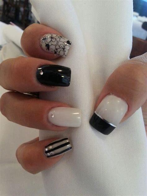 imagenes de uñas negras con plateado dise 241 o en blanco negro y plata u 241 as pinterest